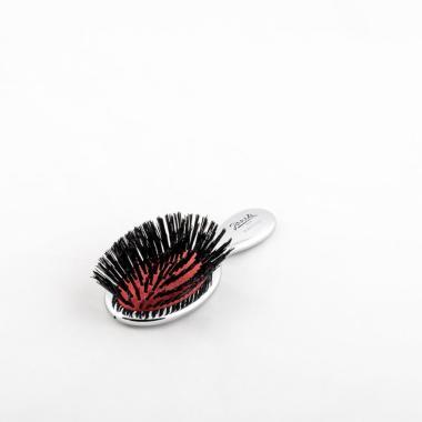 Щетка для волос маленькая со щетиной кабана и нейлоном  JANEKE CHROMIUM HANDBAG BRUSH WITH BRISTLES